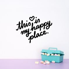This is my happy place Wall decal quote / Wall vinyl sticker / Inspirational quote / Bedroom Home decor / Happiness / Kids room / office by MadeofSundays on Etsy https://www.etsy.com/listing/253951250/this-is-my-happy-place-wall-decal-quote
