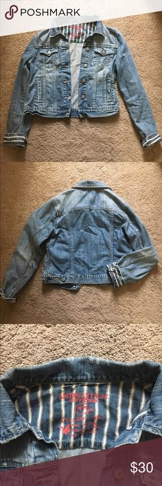 American Eagle denim jacket Distressed AE denim jacket. Size M. Looks great with dresses! American Eagle Outfitters Jackets & Coats