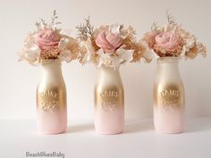 ***PLEASE READ SHOP ANNOUNCEMENT FOR TURNAROUND TIME***  These gorgeous painted milk bottles are perfect for baby showers, party decor and home decor. They are painted on the outside, so you may use fresh flowers and water in them. These bottles are painted blush, gold and cream ombre. This listing is for all 3 bottles for $27. The milk bottles are 6 tall. Please use drop down menu at the right to choose either blush and gold or aqua and gold.  **This design is an original BeachBluesBaby…