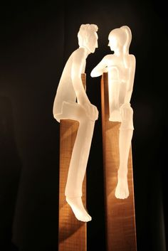 """Conversation...5"" (2010), by Clements/Wingfield. Cast glass, tiger maple, steel.  37.5 x 13 x 8""  Habatat Galleries"