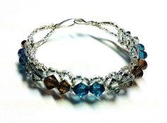 Swarovski Blue, Brown, & Gray Single Row Bracelet by TheVillageSmithy on Etsy, $30.00