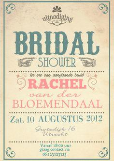 Trouwkaarten - Bruidsfeestje typografiekaart