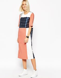 Bild 1 von ASOS WHITE – Kleid mit Punkten in Metallic-Optik