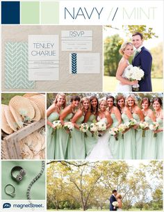 Beautiful for fall--be inspired by the details in this mint and navy wedding. Request a free wedding invitation sample in your own wedding colors.