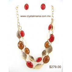 Set de collar y aretes en base dorada con detalles en forma de óvalos en diferentes tonos estilo 30242