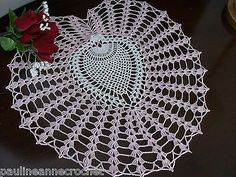 Crochet Doily Handmade Lace by PaulineAnneCrochet AFATC Pink Heart