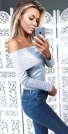 #fall #outfits · Shoulderless Top + Skinny Jeans