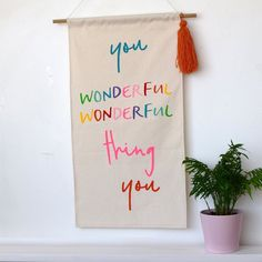 You wonderful wonderful thing you - Banner - Connie Clementine Nursery Canvas, Nursery Letters, Nursery Banner, New Baby Gifts, Gifts For Kids, Childrens Mugs, Name Bunting, Felt Letters, Nursery Decor