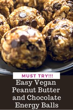 These easy Vegan Peanut Butter Chocolate Energy Balls need just 6 ingredients and come together super quickly!  Even kids can make these themselves! Gluten free and nut free option.