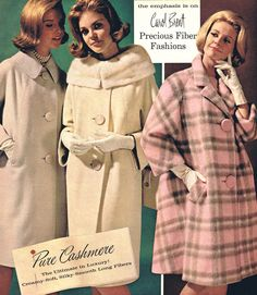 amazing mid mod winter coats late 50s early 60s white cream winter wool pink grey plaid models magazine cashmere vintage fashions style