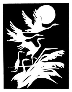 Desen I Cranes in Silhouette Stencil Patterns, Stencil Art, Stencil Designs, Bird Stencil, Kirigami, Bird Silhouette, Scroll Saw Patterns, Colorful Drawings, Pyrography