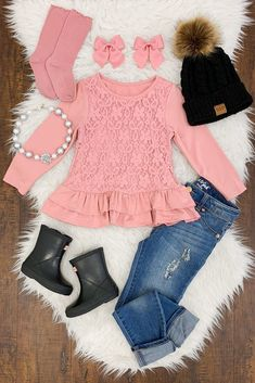 Blush Pink Ruffle and Lace Shirt - April 21 2019 at Baby Outfits, Outfits Niños, Little Girl Outfits, Cute Girl Outfits, Cute Outfits For Kids, Toddler Girl Outfits, Fashion Outfits, Fashion Trends, Little Kid Fashion