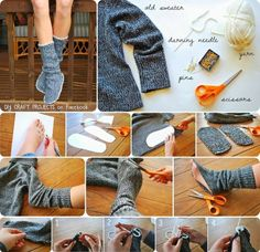 slippers from sweater; sweater could also be made into a pillow...