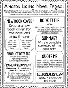 It& no secret that I love a good cumulative novel project as an assessment. I usually spend the entire novel brainstorming how we can sum . Reading Projects, Reading Lessons, Reading Activities, Reading Skills, Teaching Reading, Reading Lists, Book Projects, Book Report Projects, Library Skills
