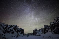 winter, sky, stars, snow, hills