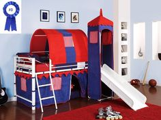 Castle Tent Twin Loft Bed Slide Playhouse w/ Under Bed Storage Red White & Blue. Top of the Slide Is Tented with a Tower with Peek Through, Fold Down Window Covers. Fun Bunk Bed w/ Slide & Covered Hiding Place Below. The Covered Hiding Place Below Can Als