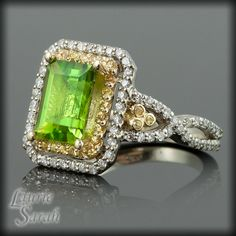 Peridot, Yellow Sapphire, and Diamond Ring with Double Halo and Twisted Shank - LS646
