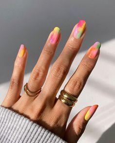 Manicure Y Pedicure, Gel Nails, Tie Dye Nails, Nagellack Design, Funky Nails, Colorful Nails, Pastel Nails, Colourful Nail Designs, Funky Nail Designs