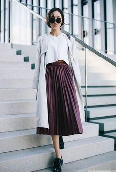 theStyleShake | Fashion / Street Style / Outfit Inspiration | white top + purple pleated midi skirt