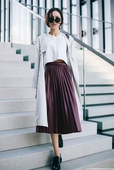 theStyleShake | Fashion / Street Style / Outfit Inspiration | white top + purple pleated midi skirt