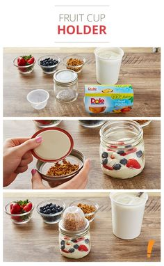 Use a mason jar and fruit cup to pack your morning granola and yogurt.
