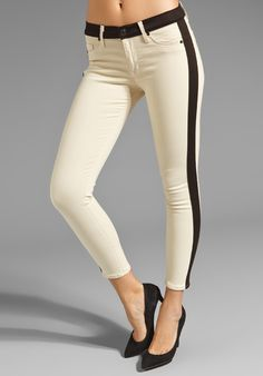 HUDSON JEANS Leeloo Colorblock Skinny Crop in Bone at Revolve Clothing - Free Shipping!