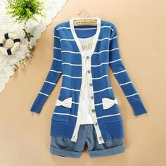 Blue and white striped with bow long cardigan sweater
