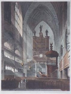 Aquatint - Bath. Interior of the Abbey. - Hill
