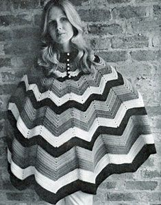 Poncho II | Free Vintage Pattern - I've been making star ripple afghans but never thought about making it into a poncho.