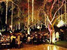 Outdoor wedding reception and dance floor lighting perfection!
