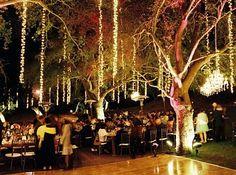 Outdoor wedding reception and dance floor lighting perfection!