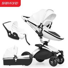 Brand 3 in 1 baby stroller high landscape children's car folding shock baby trolley can sit 360 roate bebe carriage Baby Trolley, Activities, Landscape, Car, Pram Sets, Frame, Leather, Black, Scenery
