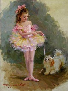 Constantin Razoumov .La petite ballerine. Huile sur toile signée en bas