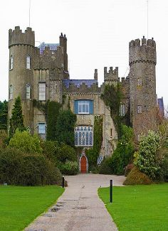 Malahide Castle, parts of which date to the 12th century, is near Dublin, Ireland.  The main castle can be visited for a fee, on a guided-tour-only basis.  The Talbot Botanic Gardens, situated behind the castle, is a separate public attraction.  by cpqs