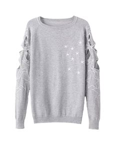 Stars-embroidered Round-neck Pullover Sweater | BlackFive