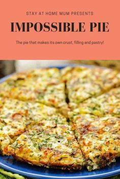 Impossible Pie Stay at Home Mum is part of Cooking recipes Our impossible pie recipe is super easy and quick to make You& love the results! In only 30 min bake time, you& have an amazing dish - Bisquick Recipes, Quiche Recipes, Casserole Recipes, Vegetable Dishes, Vegetable Recipes, Vegetarian Recipes, Healthy Recipes, Vegetable Slice, Vegetable Casserole