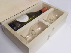 Good Valentine's gift for Him, use whiskey bottle & glasses instead Wooden Gift Box // Wine Box // Liquor Box by OutOfTheWoodworking, $32.00