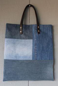 Denim Tote with Leather Straps and an Invisible Magnetic Closure - Simple Style Tote, Multiples Uses