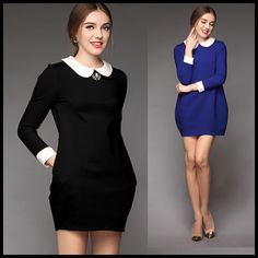 Fashion high quality peter pan collar loose autumn and winter long-sleeve basic plus size one-piece dress puff skirt $70.18
