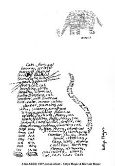 1970's concrete poetry. A No.ABCD, 1977. loose sheet: Katya Mayer & Michael Mayer --- write about how he won't let me have a cat, but that a pig is totally acceptable