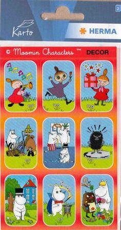 Pikku Myy trumpetissa ja muita Muumi-tarroja - Perromania - pieni postikorttikauppa - Tuotteet Tove Jansson, Plastic Cutting Board, Embroidery Stitches, Punto De Cruz