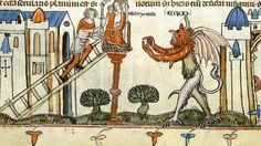 """Detalhe da la obra 'Ações dos diabos"""", publicada na Espanha no final do século 14"""