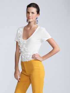 Magaschoni jersey embellished flower tee