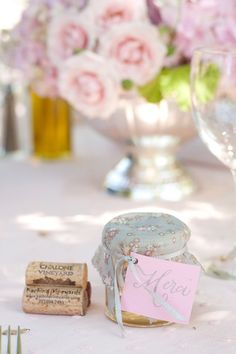 """homemade jam favors with """"merci"""" tags. maybe pair with fresh baguettes."""