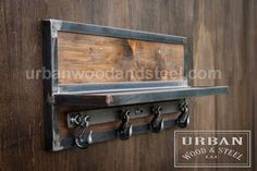 Wooster Wall Shelf & Chain Hook Coat Rack Organize your entryway with this reclaimed wood shelf, banded with raw sealed steel. Welded Furniture, Industrial Design Furniture, Western Furniture, Pipe Furniture, Steel Furniture, Rustic Furniture, Antique Furniture, Furniture Plans, Furniture Makeover