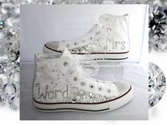 Married name Crystal Converse / Wedding converse /Bride converse / customised converse / lace converse / sparkle / delicate / romantic