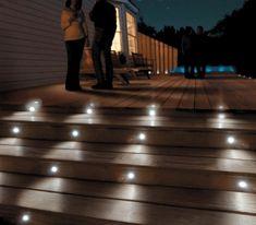 Solar Stair Lights for Deck Solar Powered Led Step Lights Solar Stair Lights For Deck Solar Deck Outdoor Stair Lighting, Low Voltage Outdoor Lighting, Led Exterior Lighting, Outdoor Stairs, Outdoor Decking, Deck Post Lights, Deck Step Lights, Solar Deck Lights, Walkway Lights