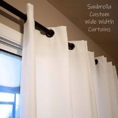 Custom Sunbrella curtains can be made in extra wide widths for indoor and outdoor spaces.