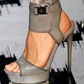 Shoespie Punk Style Gray Color Ankle Wrapped Dress Sandals