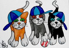 Aceo Original PLAY BALL KITTIES pencil/ink ON EBAY